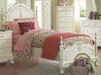 DREAMY ANTIQUE WHITE TWIN YOUTH GIRL'S BED BEDROOM ...