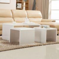 NEW High Gloss White Coffee Table Side/End Table Set of 2 ...