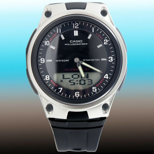 Casio Aw-80-1av Watch World Time 10 Year Battery Black 30 Page Telememo