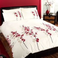 Oriental Bedding Floral Luxury Red Cream Duvet Cover Bed ...