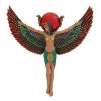 Egyptian Wall Decor Goddess Winged Isis Relief Colorful ...