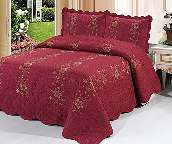 Burgundy 3 Piece Quilted Bedspread Red Quilt