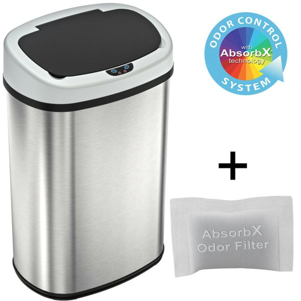 13 Gallon Automatic Touch-free Sensor Stainless Steel Trash Kitchen 50r