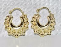 9ct Yellow Gold Victorian Style Gypsy Creole Earrings | eBay