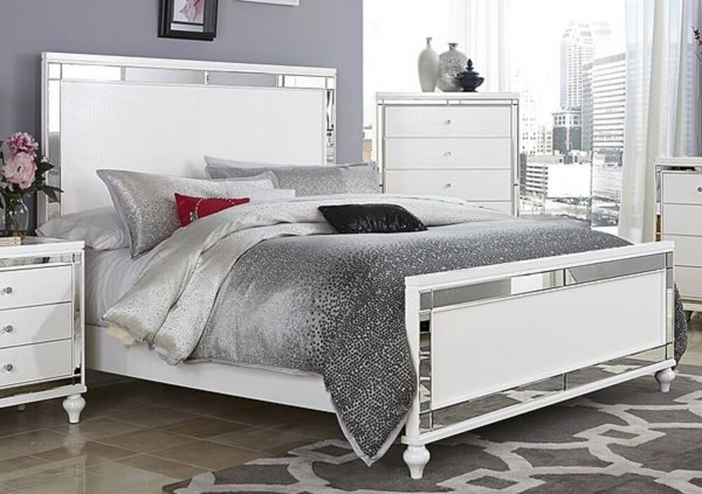 glitzy 4 pc white mirrored king bed n/s dresser & mirror bedroom