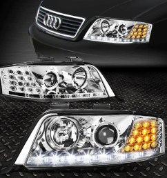 details about for 1998 2001 audi a6 quattro chrome housing projector headlight led drl signal [ 1000 x 1000 Pixel ]