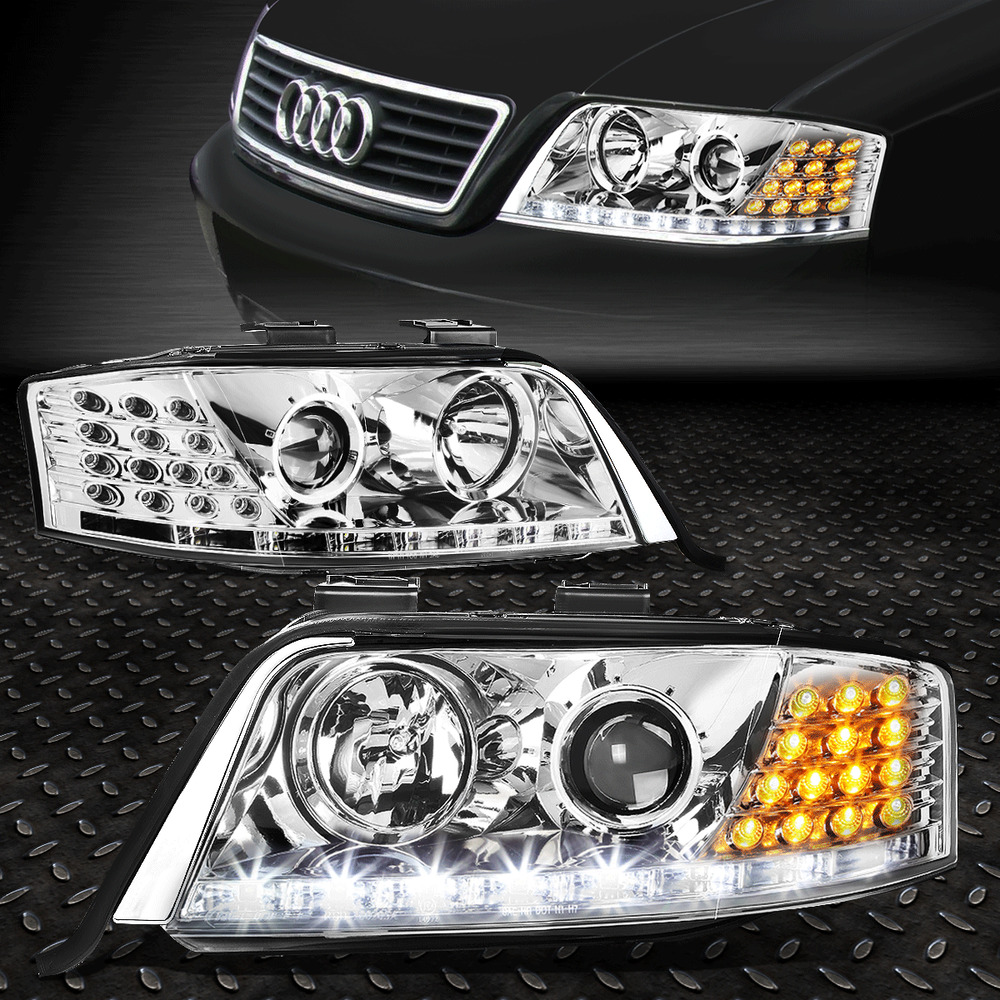 medium resolution of details about for 1998 2001 audi a6 quattro chrome housing projector headlight led drl signal