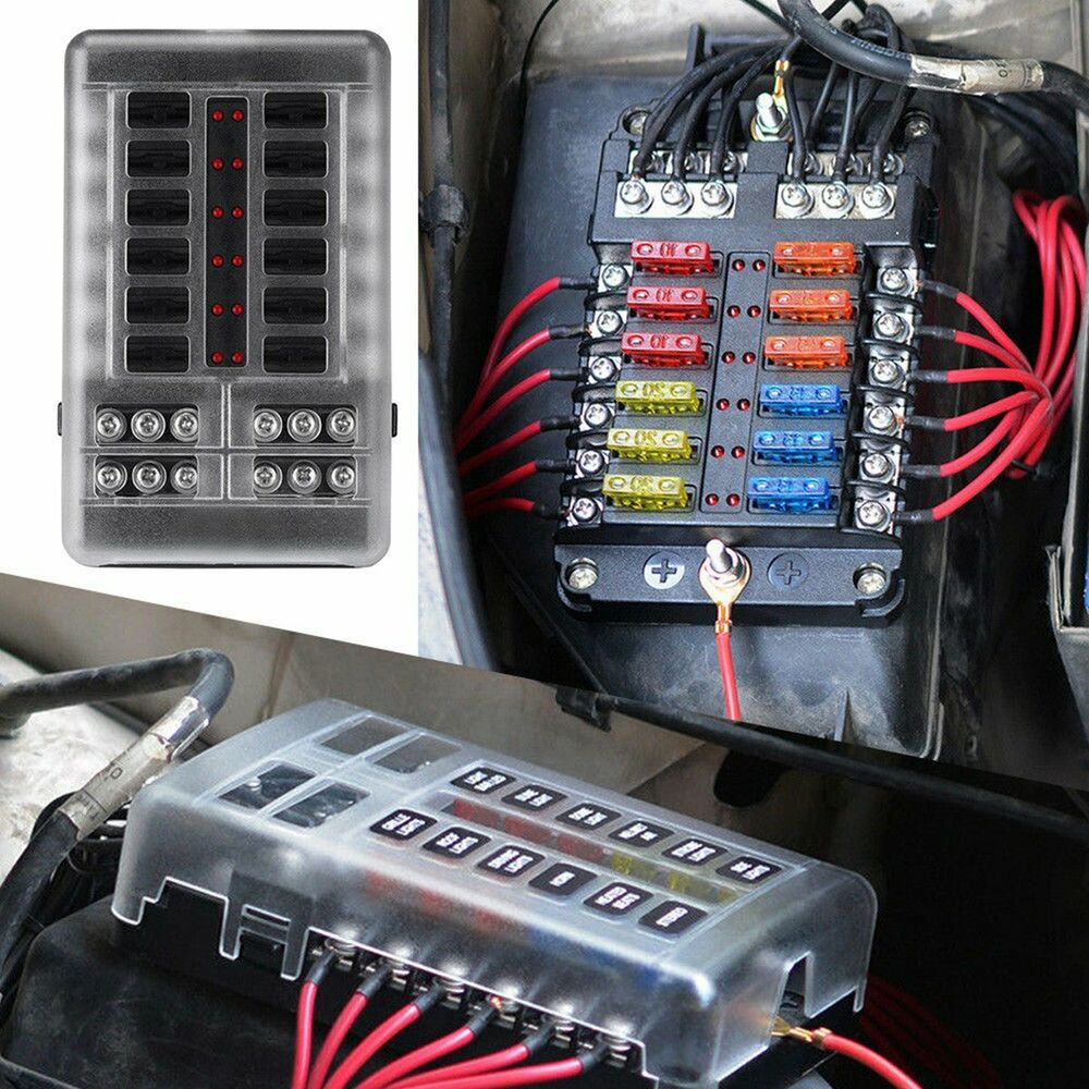 medium resolution of details about black 12 way blade fuse box bus bar car kit with cover marine fusebox holder