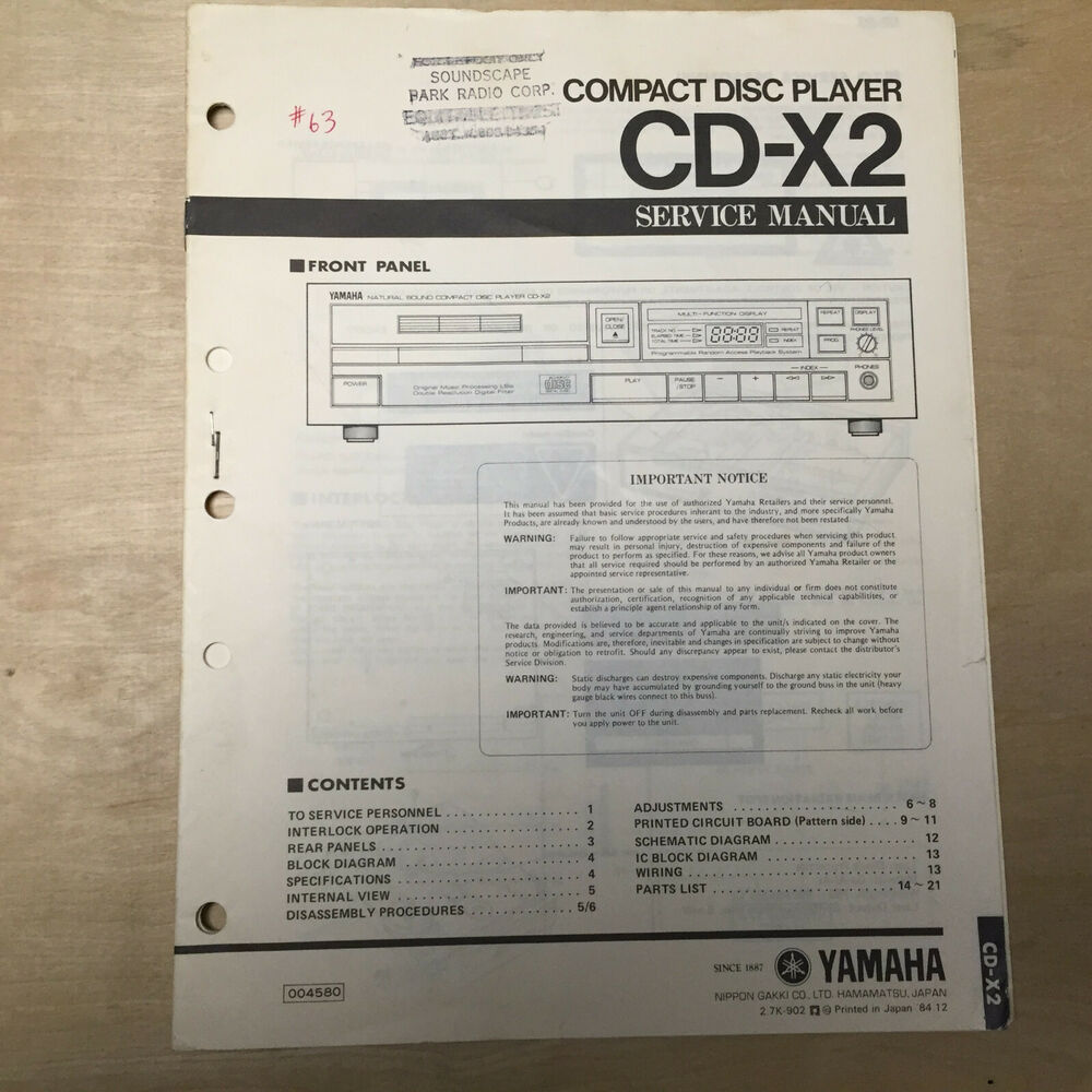 hight resolution of details about original yamaha service manual for the cd x2 cd compact disc player repair