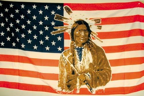 AMERICAN FACE of indian 3x5 FLAG FL010 flags banner