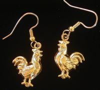 Chicken Rooster Hen Earrings 24 karat Gold Plate Farm
