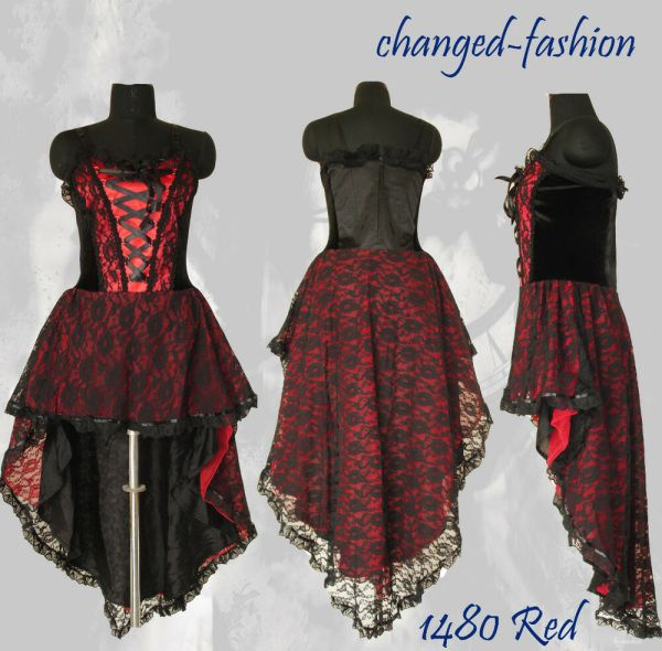 Gothic Corset Dress Red Victorian Size