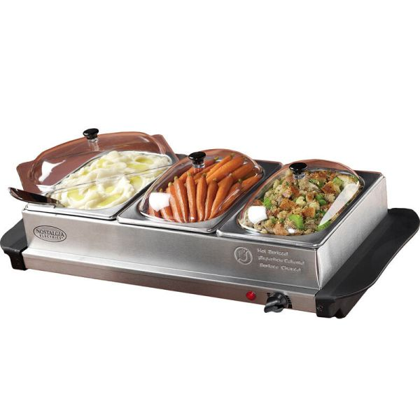 Stainless Steel Buffet Server & Food Warmer Tray 3 Station