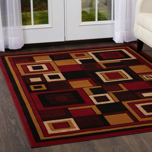 Modern Geometric Red Area Rug 2x8 Contemporary Runner