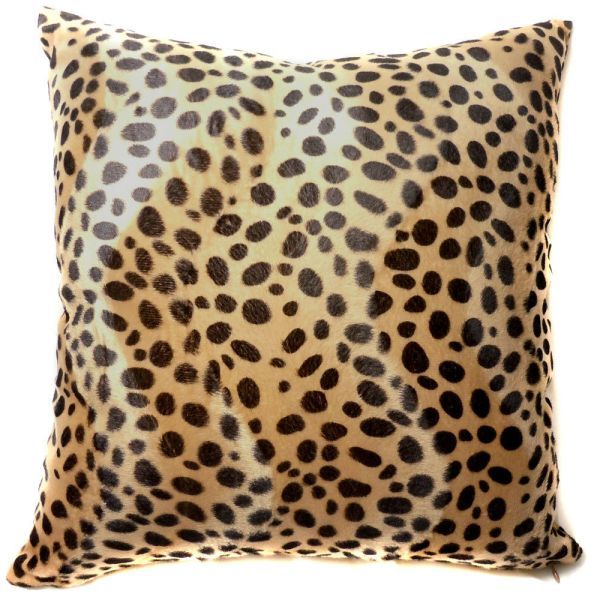 Ff06a Faux Fur Brown Leopard Skin Print Cushion Cover
