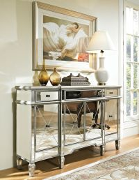 Hollywood Regency Mirrored Console Cabinet Dresser Table ...