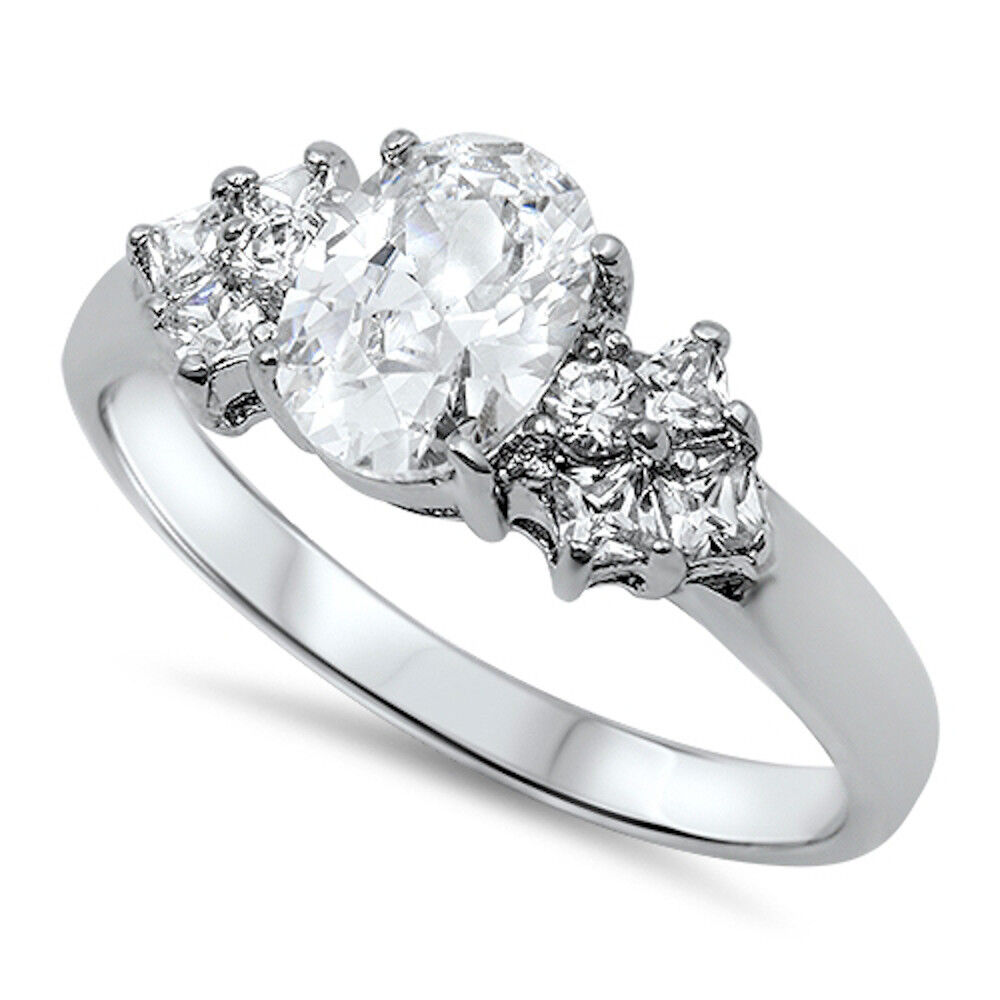 150CT OVAL CUT CZ ENGAGEMENT RING SOLID 925 Sterling