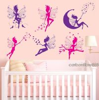 6 MAGIC FAIRY Wall Stickers Girls Removable Vinyl Art ...
