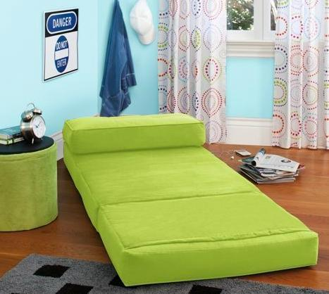 Green Flip Out Down Sleeper Chair Lounge Bed Seat