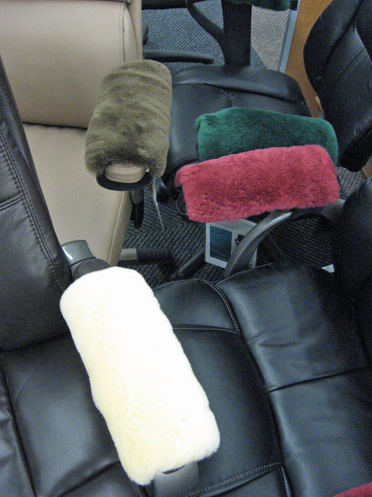 office chair parts dining covers amazon uk white merino sheepskin armrest pad scooters wheelchairs arms   ebay