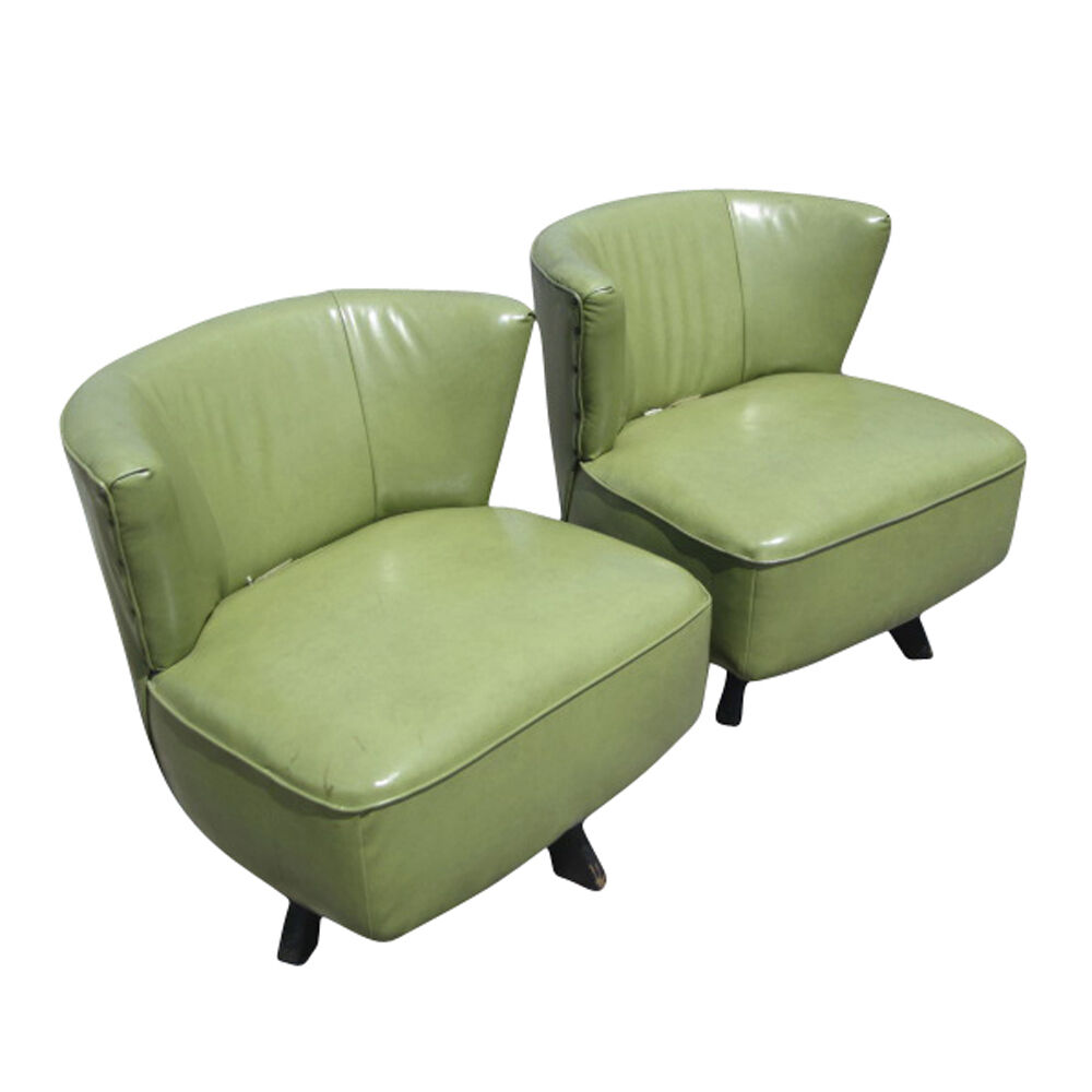 Mid Century Modern Green Swivel Slipper Chairs