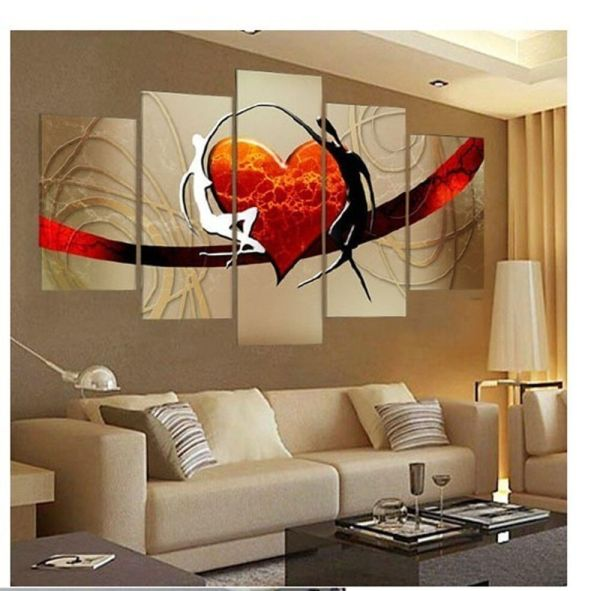 5p Large Canvas Frame Modern Hand-draw Art Oil Painting