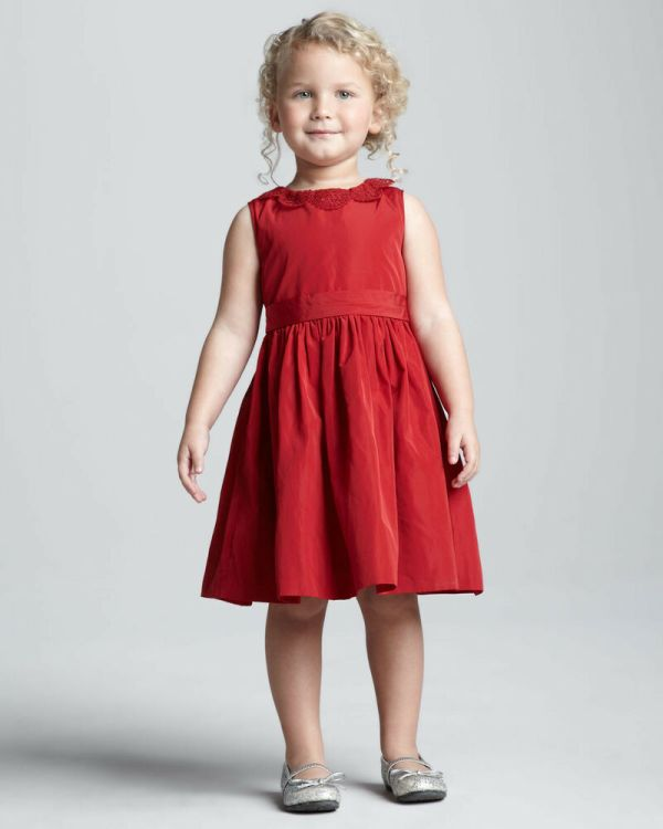 Jason Wu Neiman Marcus Baby Toddler Girl Holiday Red Occasion Lace Trim Dress