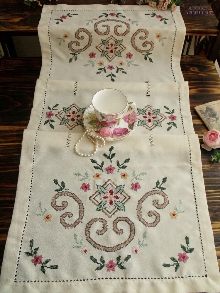Shabby Embroidery Table Runner Dresser Scarf Pink French