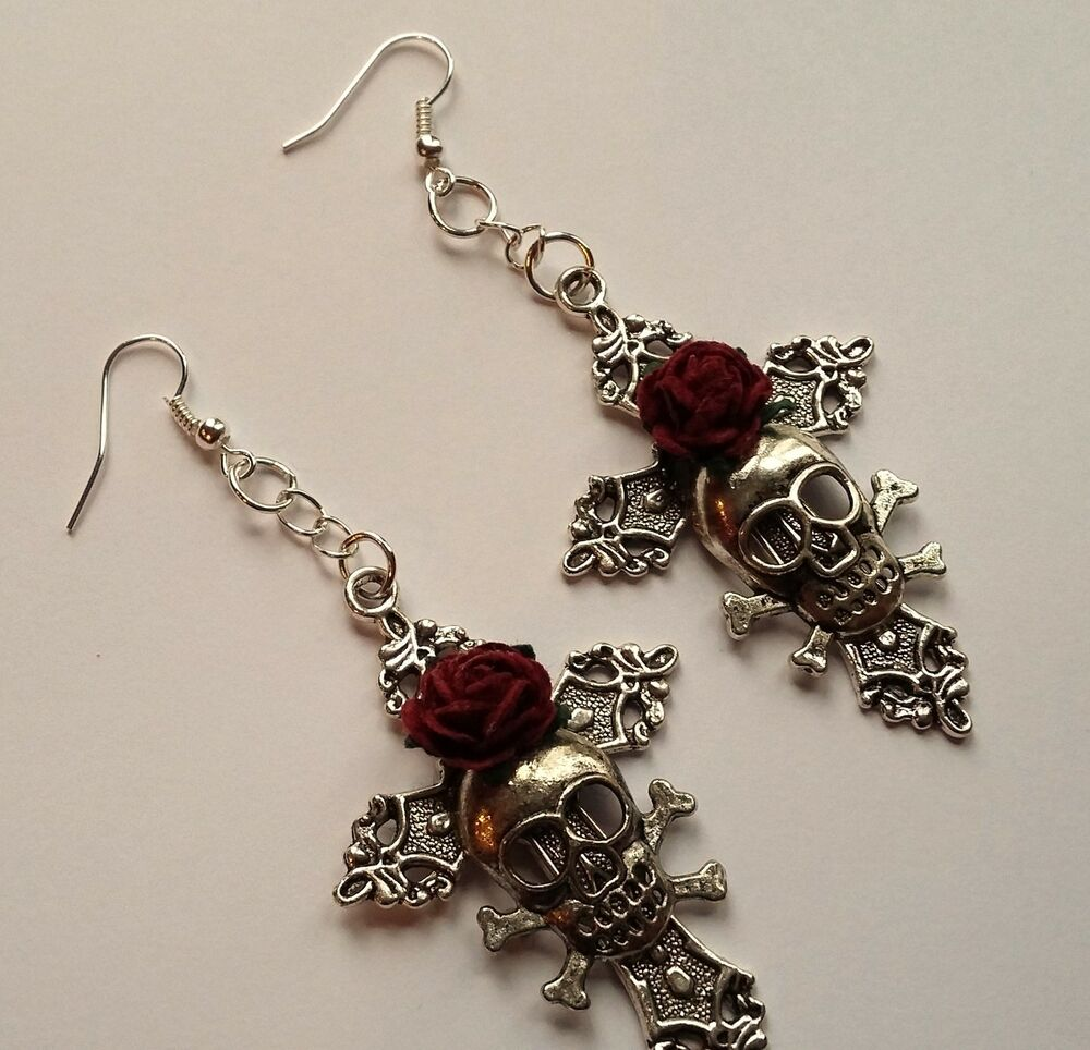 Large Gothic Earrings *Silver cross*red rose*pagan*punk