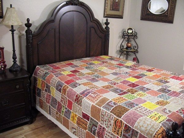 Bohemian Embroidered Patchwork Bedspread Tapestry Ethnic