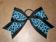 """blue cheetah"" cheer bow pony"