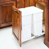 35 Quart- White Double-Trash Can Pull-Out System with Cans ...