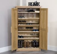 Arden solid oak hallway furniture shoe storage cabinet