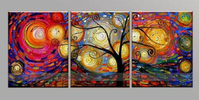 3 Pieces Large Modern Hand-painted Art Oil Painting Wall