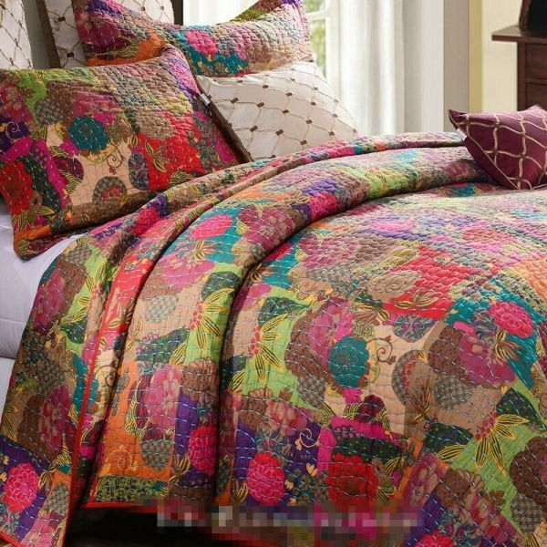 Jewel Red 3pc Full Queen Quilt Set Moroccan Boho Floral Exotic Print Comforter