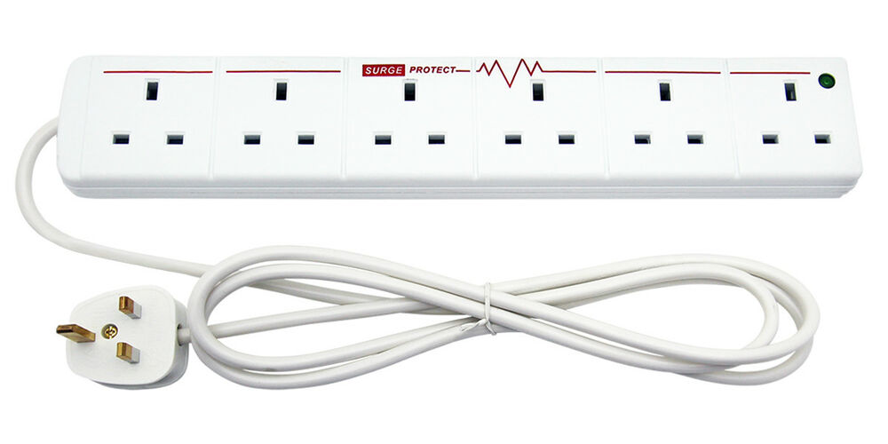 6 way extension lead 3m whirlpool wiring diagram range surge protection with 2m wire -13a 240v | ebay
