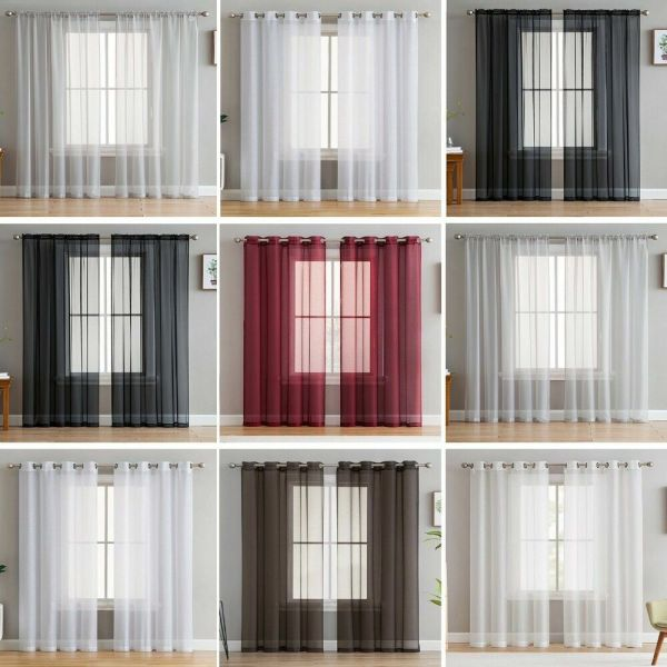 2 Slot Top Eyelet Tab Voile Net Panels Curtains