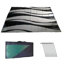 RV Awning Mat Reversible Outdoor 9x12 Black Silver Wave
