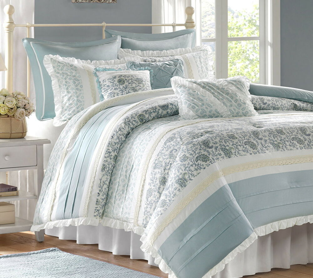 CHIC BLUE LACE 9pc Queen COMFORTER SET  FRENCH COTTAGE SHABBY PAISLEY BEDDING  eBay