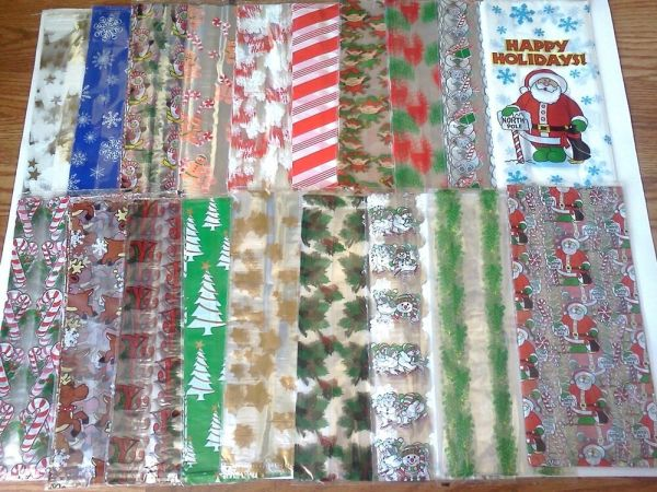 Wholesale lot 240 Cellophane Gift Bags Holiday Christmas