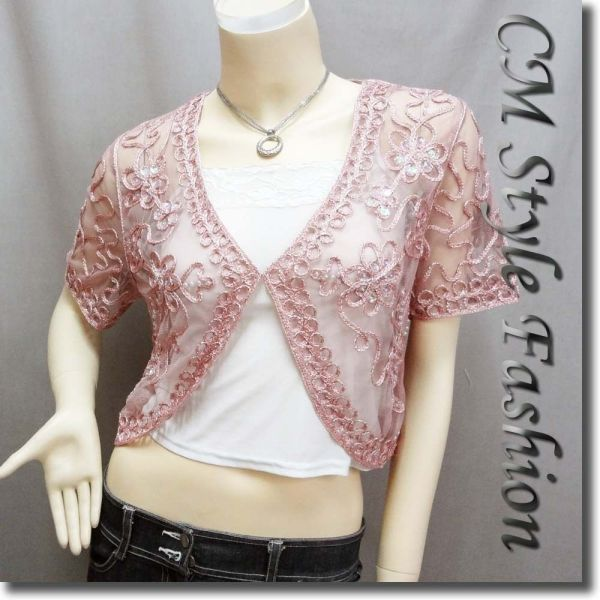 Sequined Embroidery Shrug Glam Bolero Top Pink