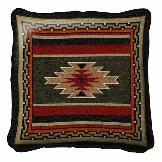 SOUTHWEST INDIAN DESIGN EARTH TONES TAPESTRY THROW PILLOW 17x17 EBay