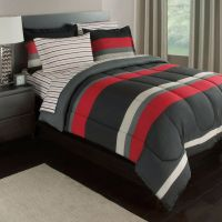 Black Gray Red Stripes Boys Teen Queen Comforter Set (7 ...