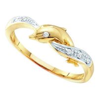 10K Yellow Gold 0.04ctw Diamond Dolphin Ring