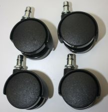 Set Of 4 Replacement Black Swivel Plastic Wheel Office