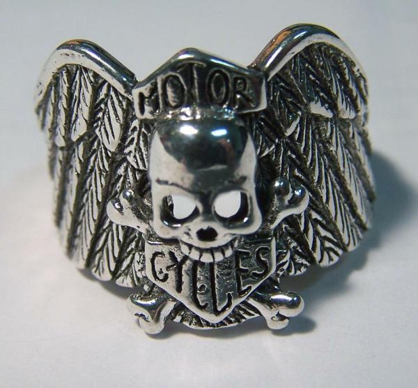 Skull With Wings Motorcycles Silver Biker Ring #100 Mens