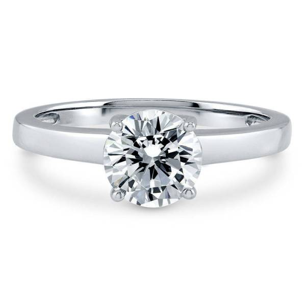 BERRICLE Sterling Silver Round Cut CZ Solitaire Engagement