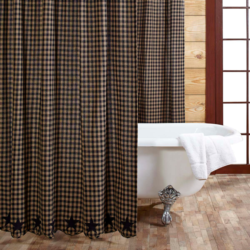BLACK STAR Shower Curtain Country Applique Star Plaid