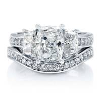 BERRICLE Sterling Silver Cushion CZ 3-Stone Engagement ...