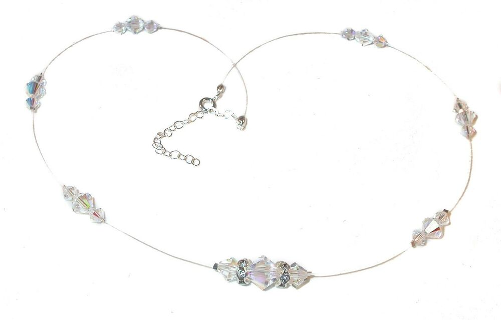 Floating CLEAR AB Crystal Illusion Necklace Sterling